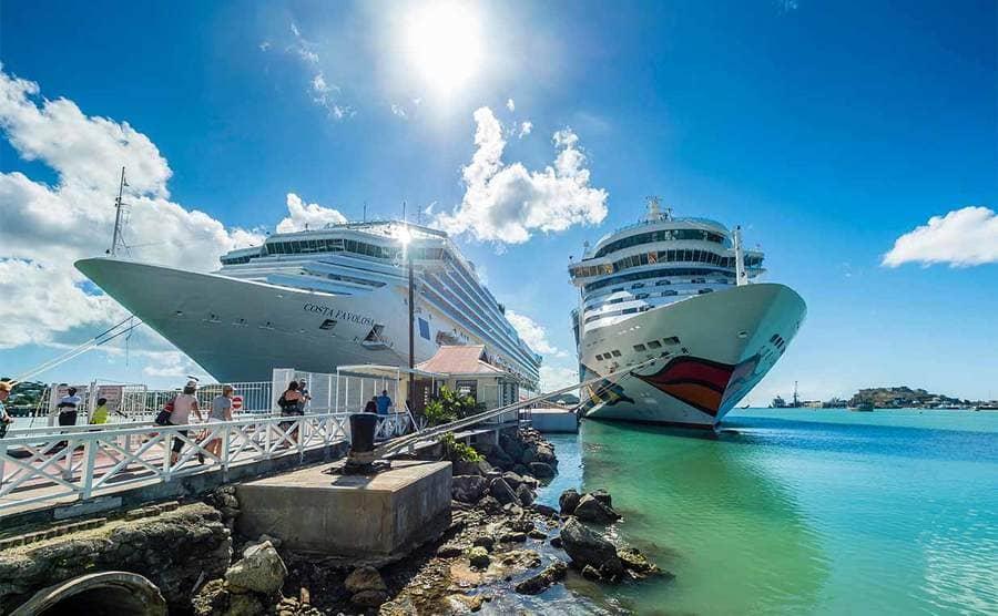 Cruise ships in port in Barbuda