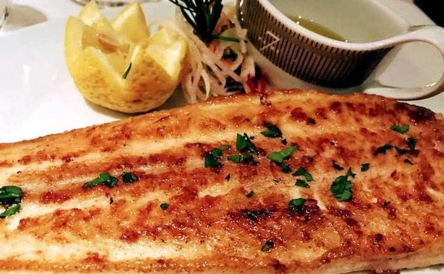 A photograph of the Dover Sole fish on the Regent Seven Seas Navigator