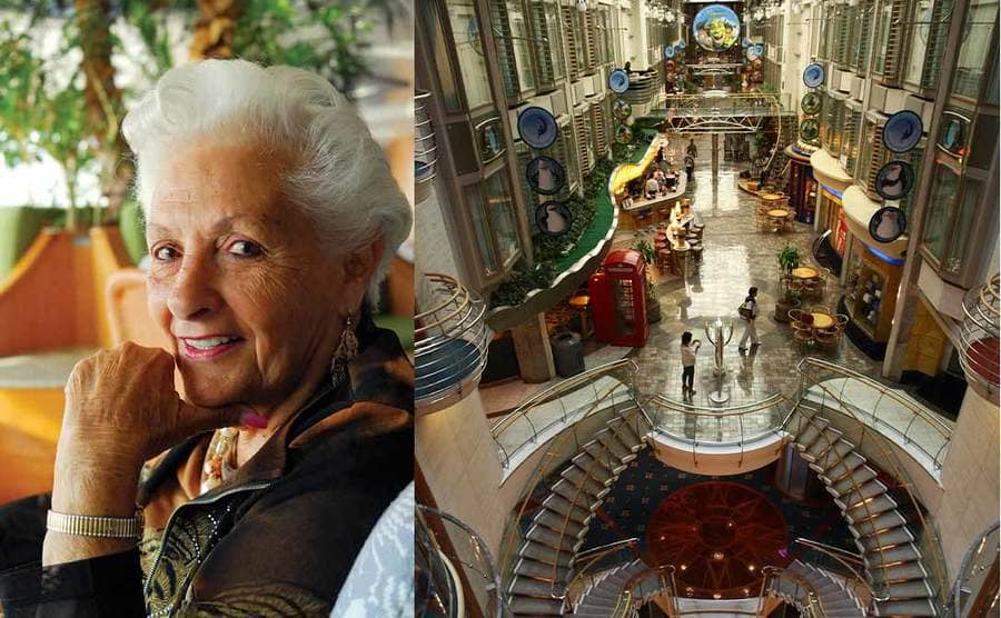 Lee Wachtstetter posing on the cruise ship dressed nicely / A photograph from above of the interior of a cruise ship with shops all around