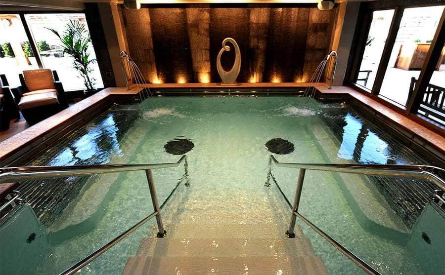 An indoor bathhouse on a cruise ship