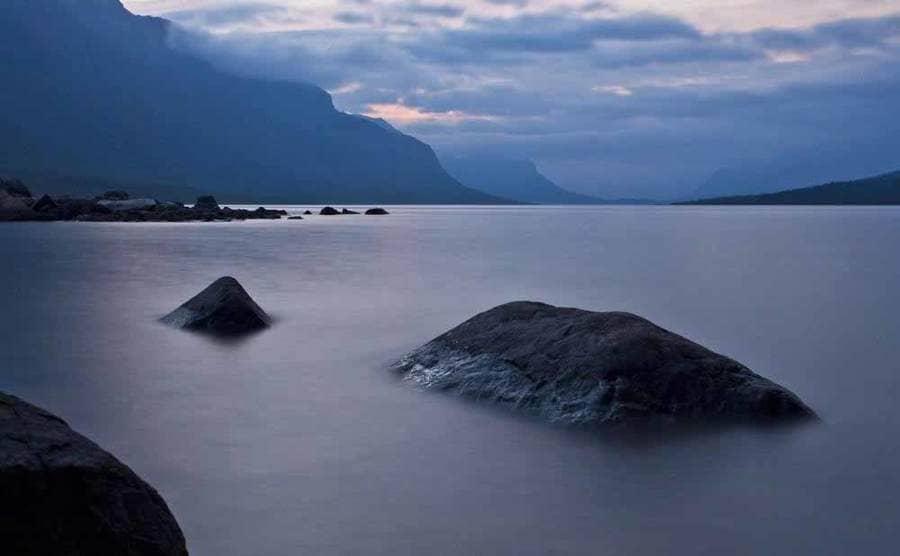 A photograph of a large lake