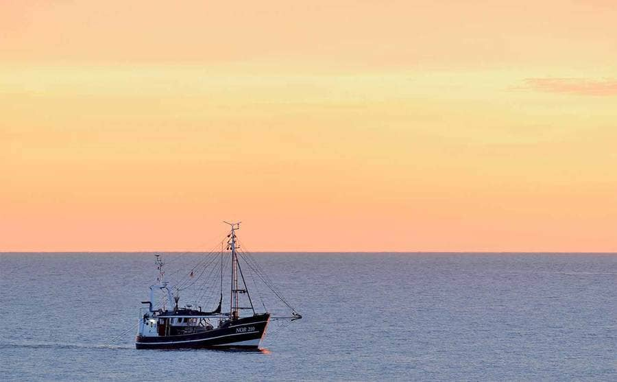 A fishing boat out in the water