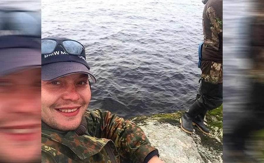 One of the Russian rescuers taking a selfie