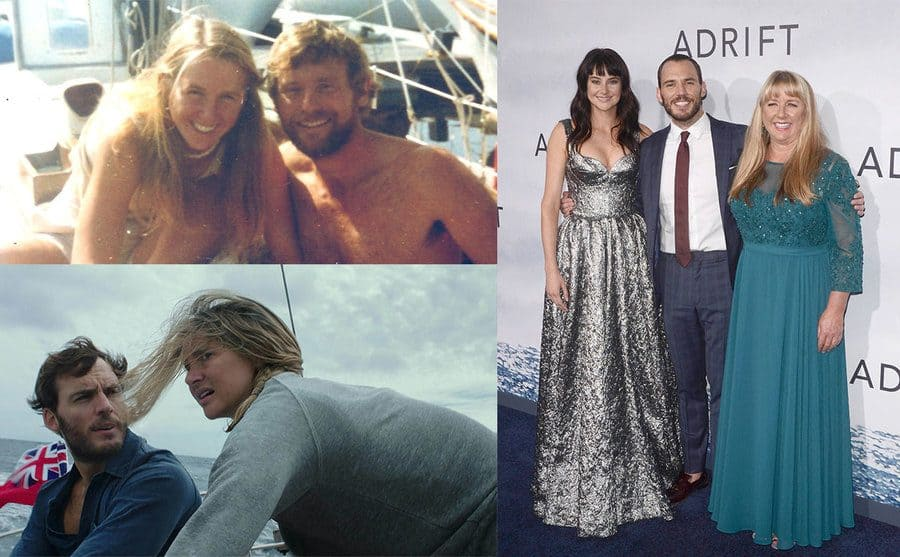 """Richard Sharp and Tami Oldham on a yacht smiling / Sam Claflin and Shailene Woodley on the boat in stormy weather / Shailene Woodley, Sam Claflin, and Tami Oldham at """"Adrift"""" film premiere"""