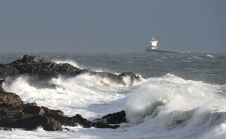 High waves crashing on the rocks
