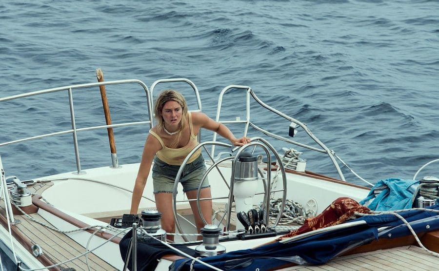 Shailene Woodley sailing the boat by herself