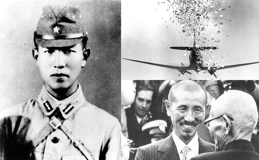 Lt Hiroo Onoda in uniform circa the 1940s / An airplane dropping leaflets / Hiroo Onoda smiling and greeting someone