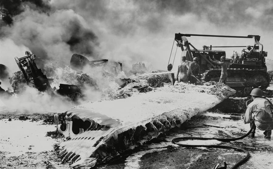 Fire and destruction on an air force base