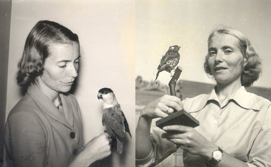 Two photographs of Juliane's mother with a bird