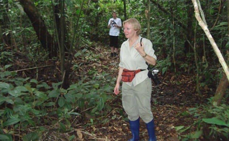 Juliane walking around the rainforest