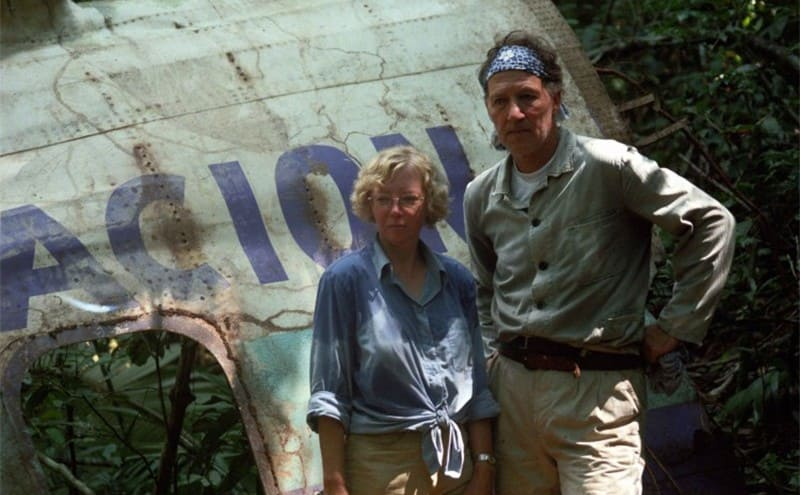 Juliane and another man standing by what remained of the plane after the crash