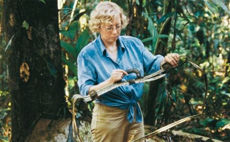 Juliane holding a metal frame at the site of the plane crash