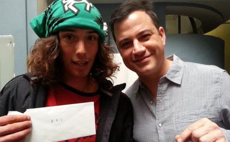 Kai posing with Jimmy Kimmel backstage
