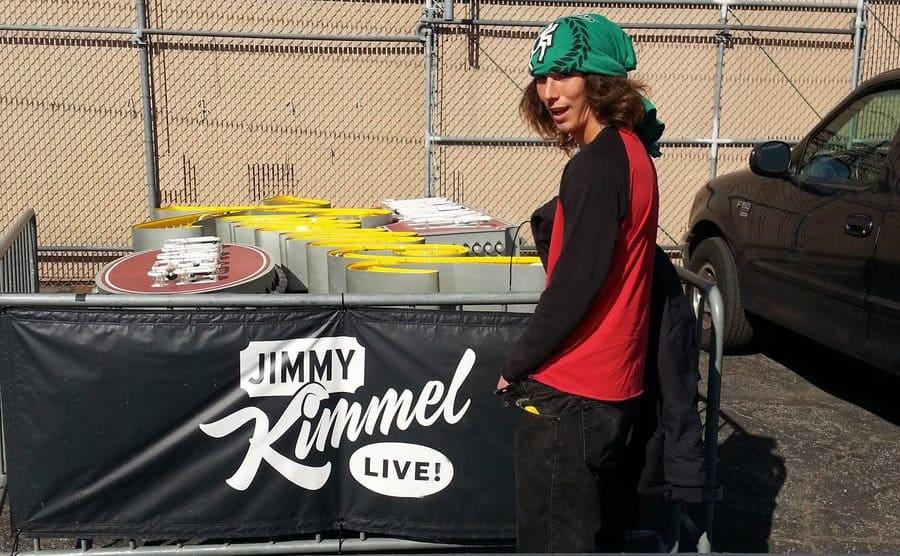 Kai behind the scenes of Jimmy Kimmel