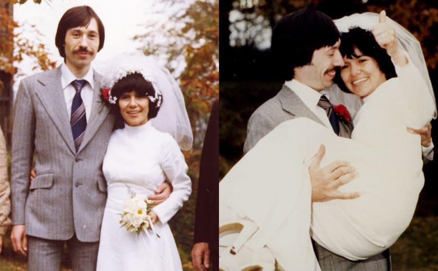 Marina and John on their wedding day