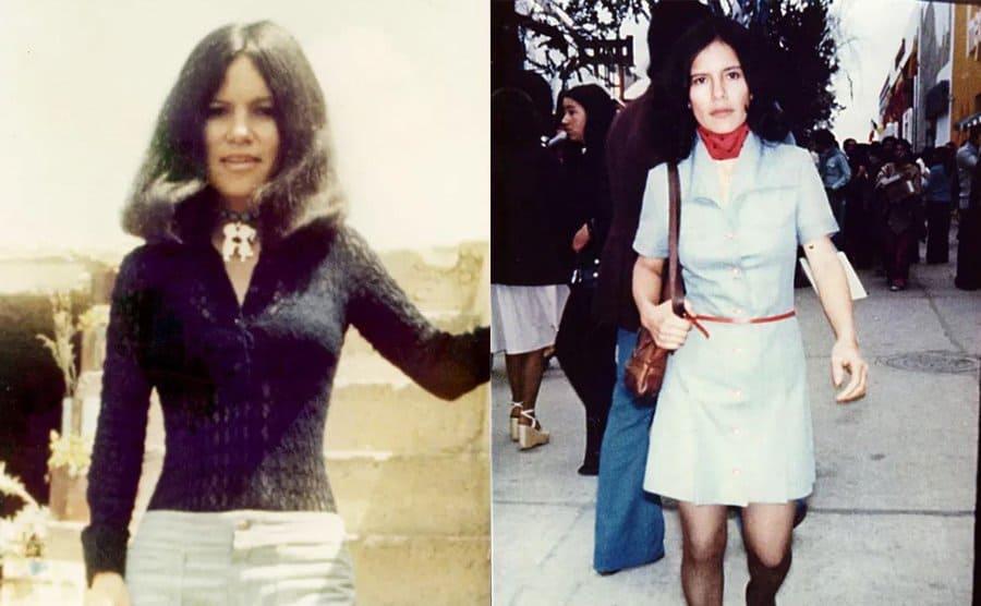 Marina posing in two photographs in her twenties