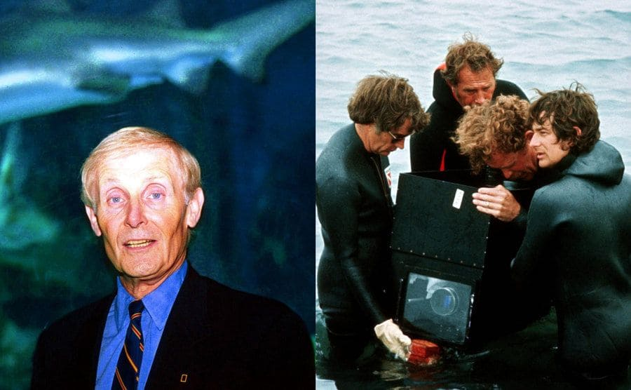 Peter Benchley in an aquarium with a shark behind him / Steven Spielberg and other crew members looking through an underwater camera on the set of Jaws