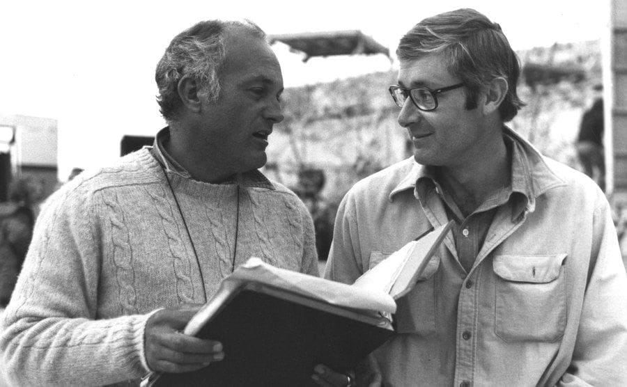 Peter Yates and Peter Benchley on the set of the film The Deep 1977