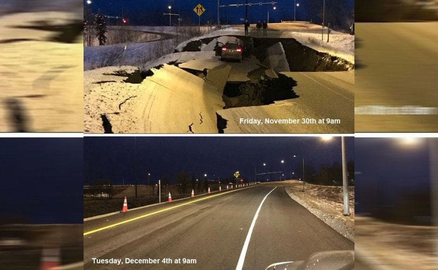 the damage done by by the earthquake to a road, while a single car is stuck in the mess / the same road fully repaired just four days later.