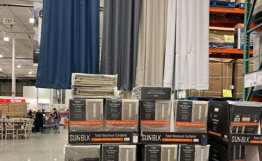 Blackout curtains for sale at local Costco.