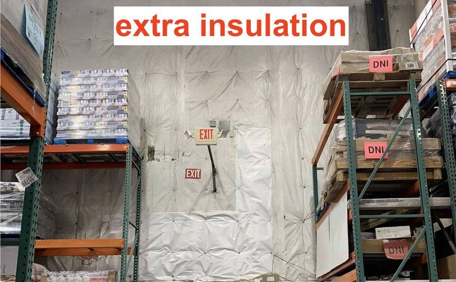 Inside the Costco, they have extra insulation on the walls because it is cold everywhere.