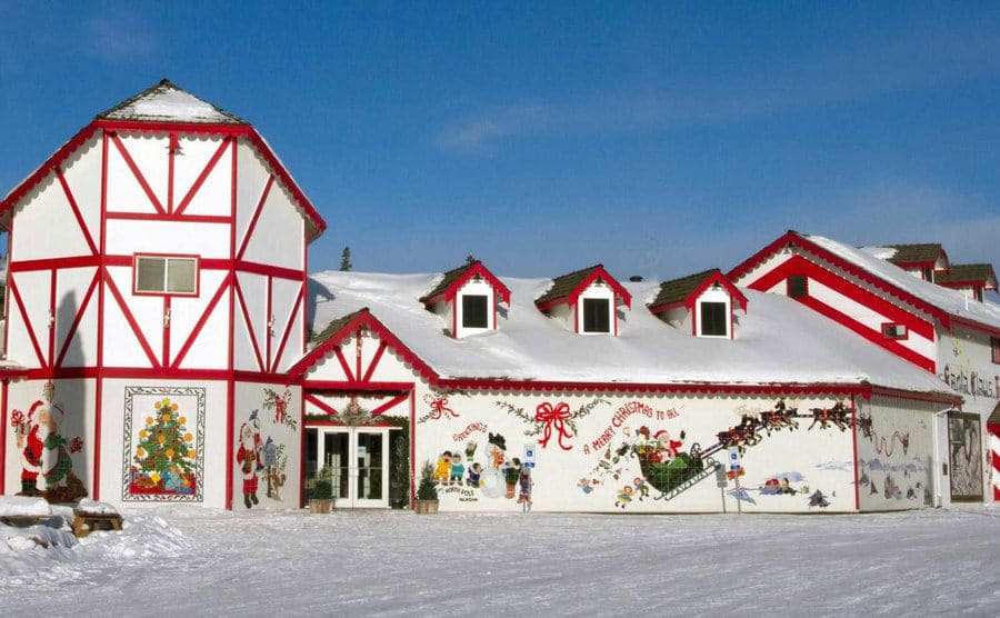 A red and white Christmas style house in the North Pole, Alaska.