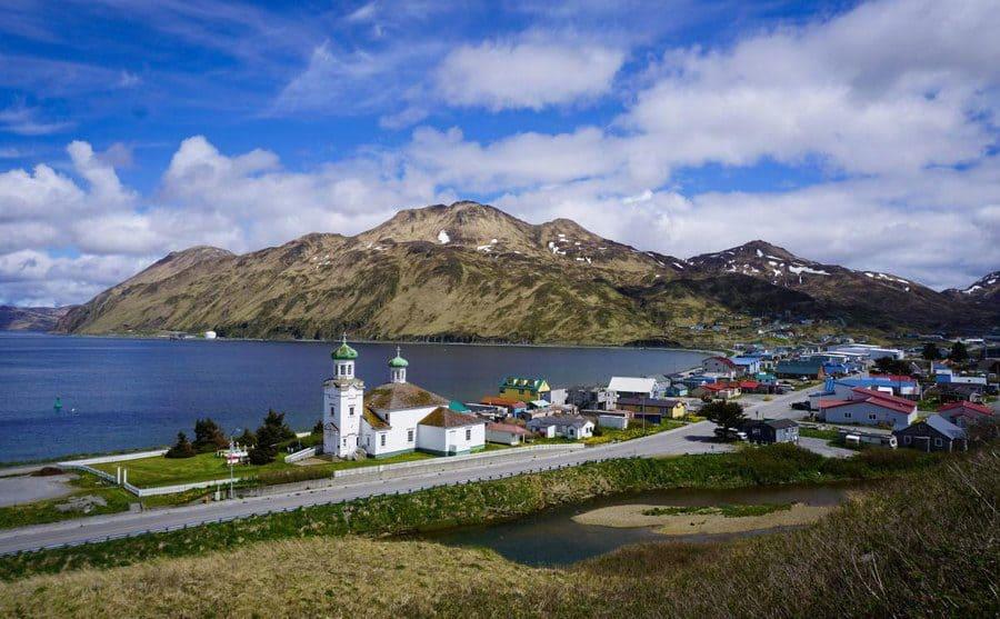 Arial view of Unalaska the city and the Unalaska Bay.