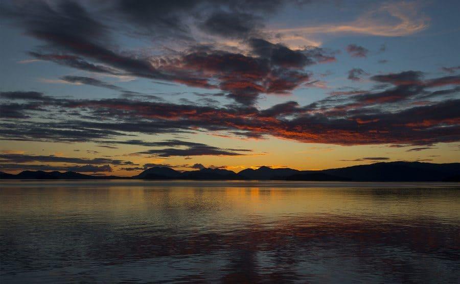 Sunset seen from Wrangell city on Wrangell Island, Tongass National Forest, Southeast Alaska