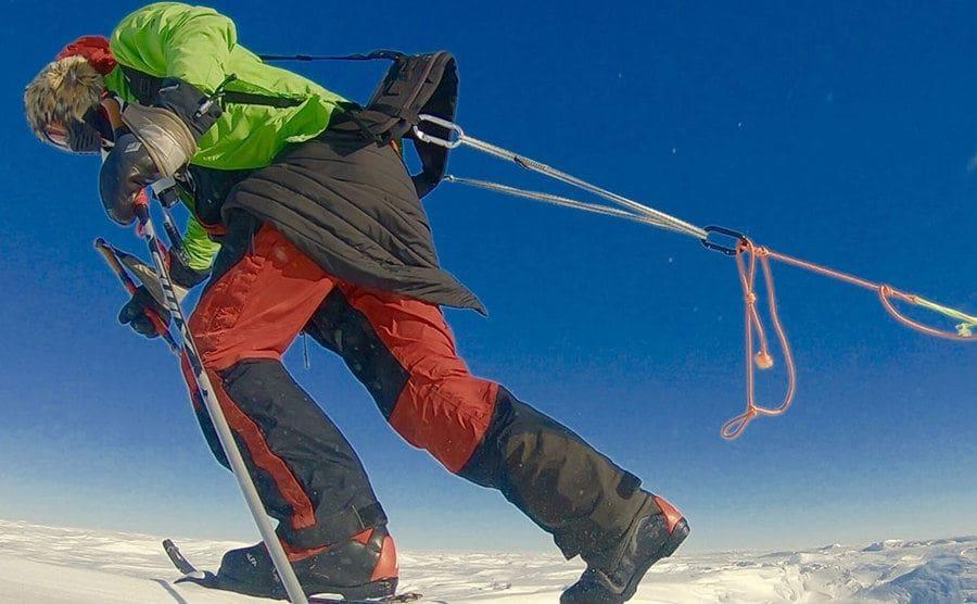 Colin O'Brady pulling a sled full of gear