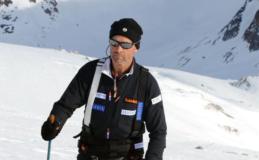 Henry Worsley hiking through the snow
