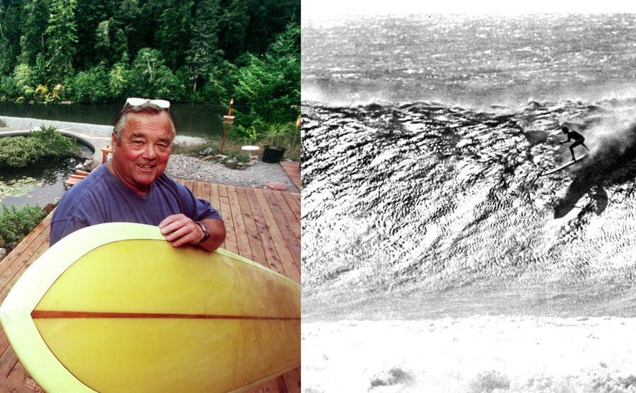 Greg Noll holding a surfboard / Gregg Null surfing a wave