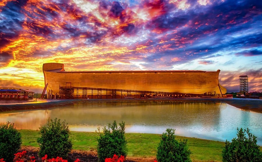 A full view of the ark against the backdrop of the sunset, truly majestic.