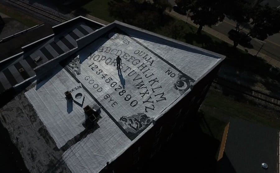 An arial view of the roof of the hotel, which has the Ouija board on it.