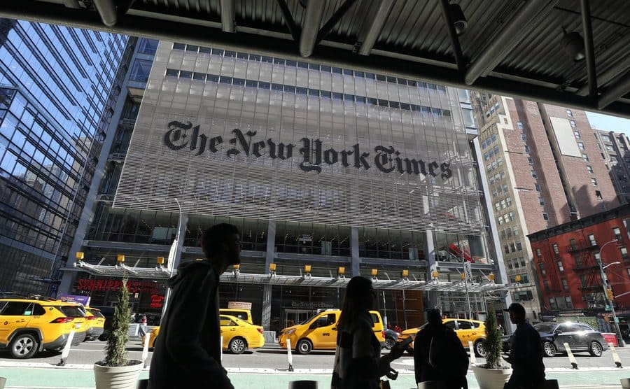 Street view of the front entrance of the New York Times building.