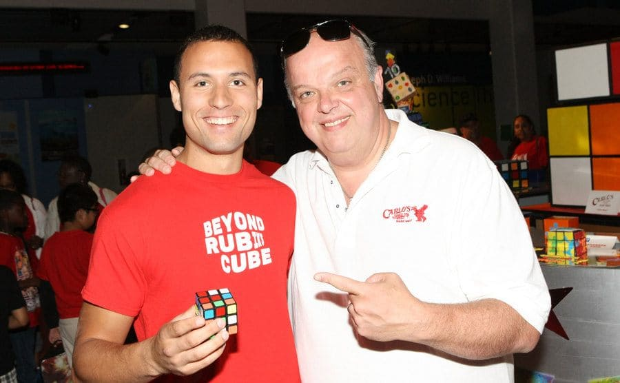 North American Champion Speed Cuber Anthony Brooks standing next to TV personality Mauro Castano.