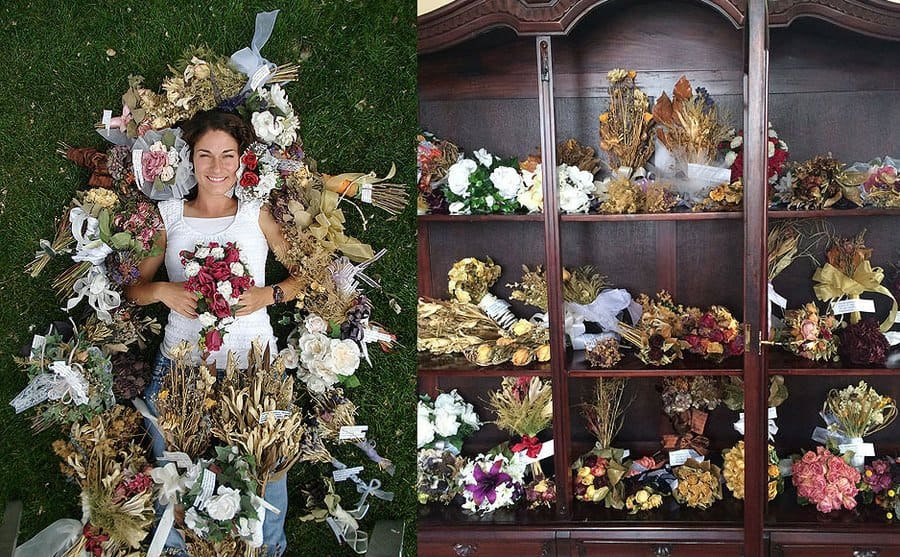 Jamie laying on the grass surrounded by all the bouquets she caught / A dresser full of all the bouquets she has caught.