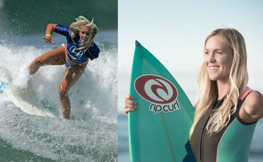 Surfer Bethany Hamilton rides a wave circa 2009 / Bethany holding a surfboard while posing for a photo.