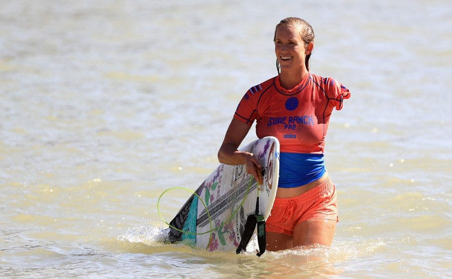 Bethany Hamilton exits the water during the women's qualifying round of the World Surf League Surf Ranch Pro.