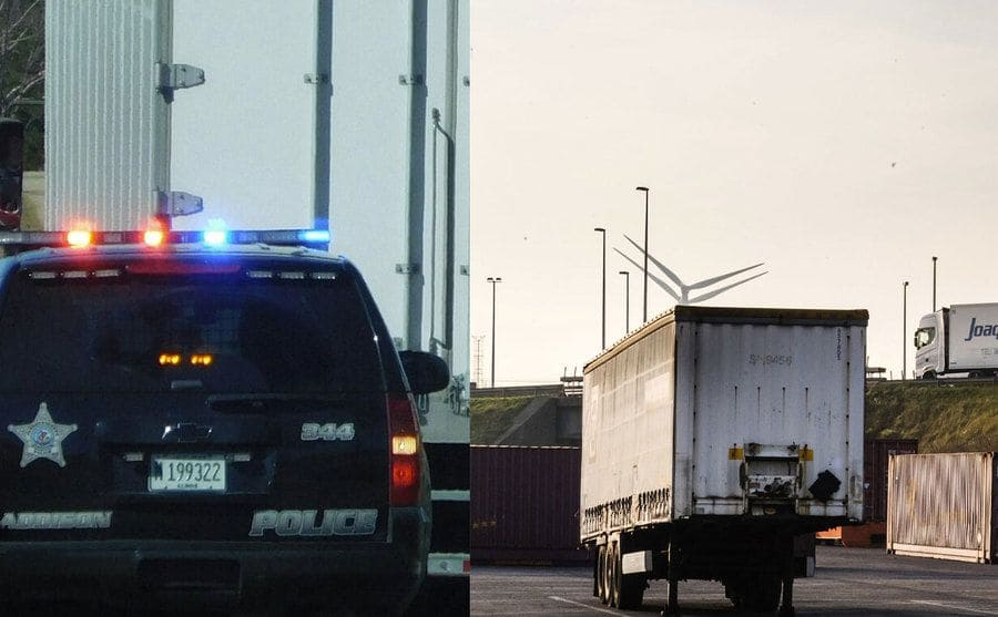 A cop car pulling over a semi on the highway/ Haulage truck trailers parked near an access road, no cabs in sight.