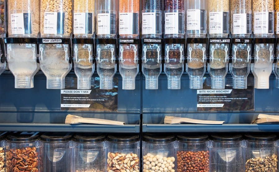 Different varieties of different seeds and nuts on local supermarket shelves.