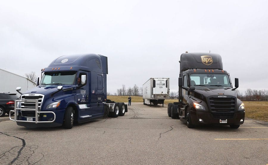 Truckers driving off in their cabs while leaving their trailers behind.