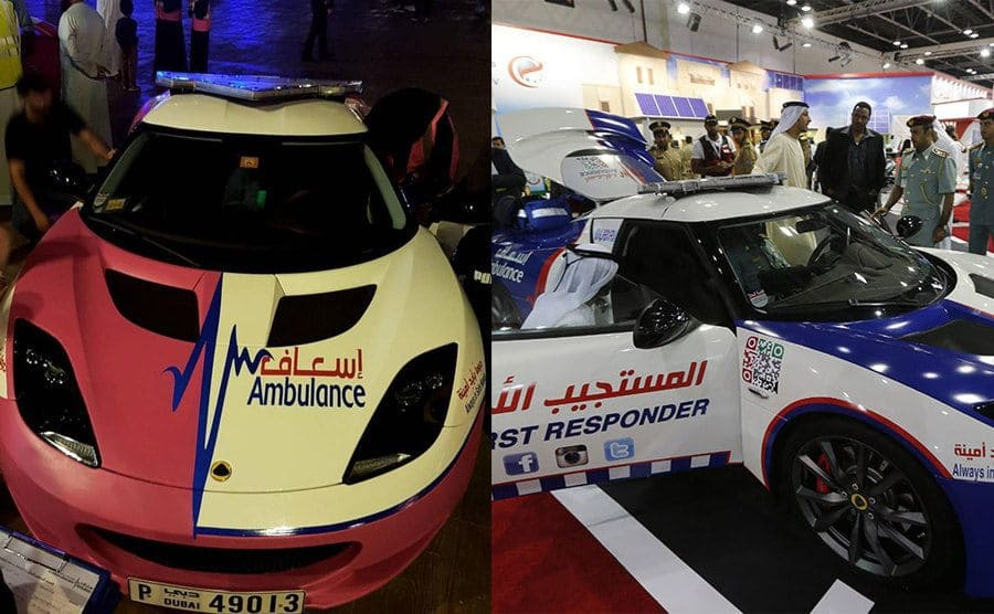 Two photographs of a nice car with ambulance and first responder written on them