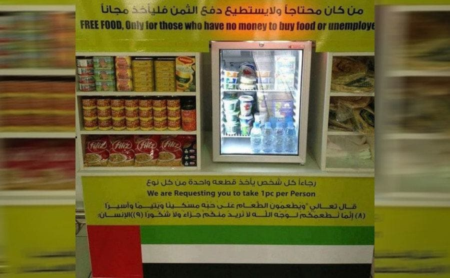A shelf of free food for people in need