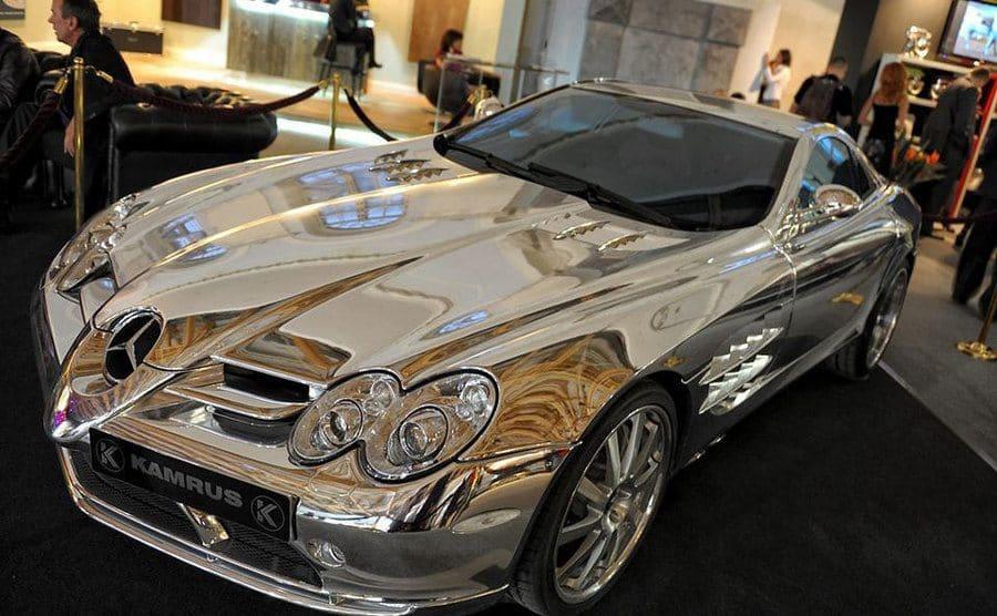 A white gold Mercedes Benz
