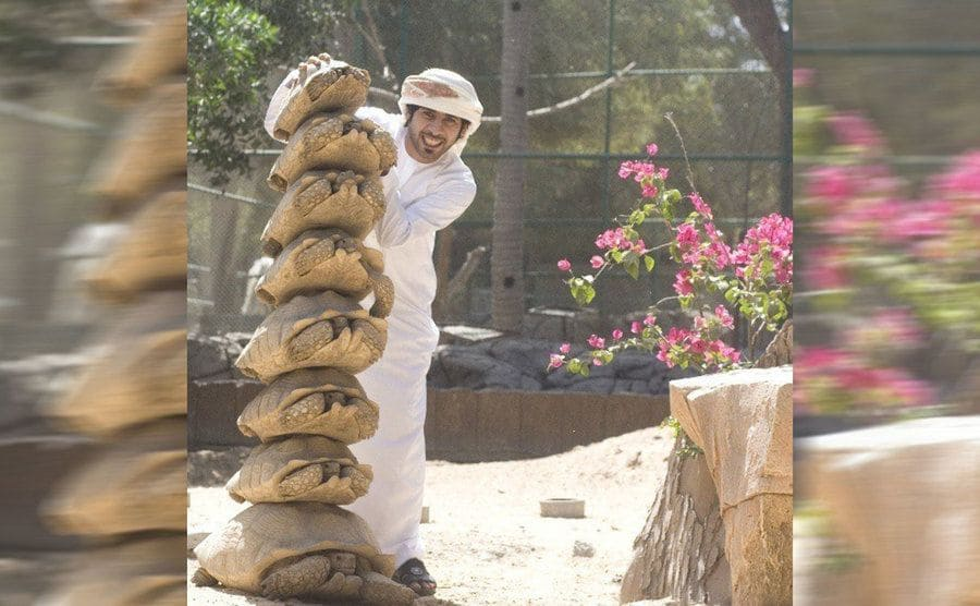 A man stacking turtles one on top of the other, starting with the largest on the bottom