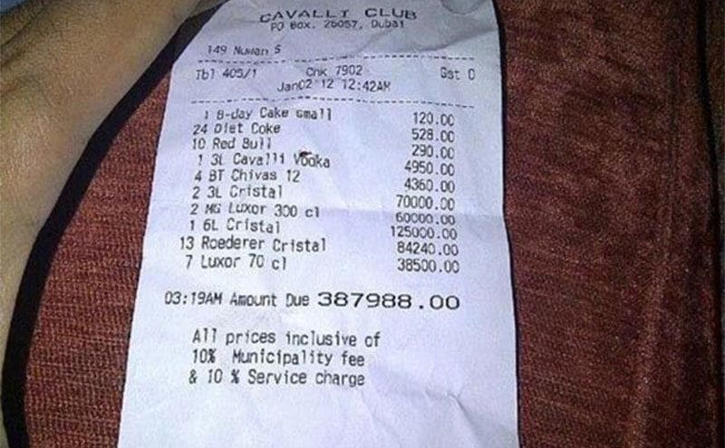 A receipt for cake and alcohol