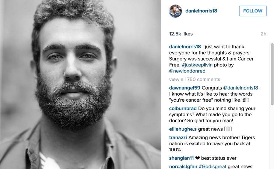 Daniel Norris posted a gratitude post after surgery on Instagram.