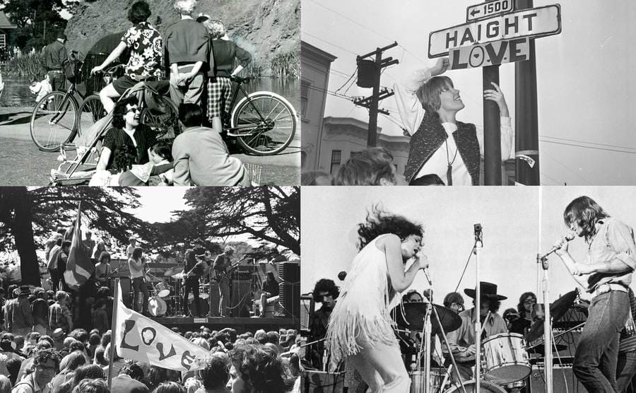 An outing in Golden Gate Park in San Francisco, March 3, 1958/ The street sign is changed at the corner of Haight and Ashbury to include LOVE, March 1, 1967/ A crowd of hippies listens to a band play at a summer solstice celebration at Golden Gate Park in San Francisco/ Singer Grace Slick performs with the American rock group Jefferson Airplane at Woodstock music festival.