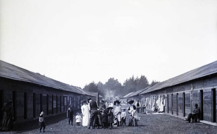 View of refugees moving into Golden Gate Park shelters in the aftermath of the San Francisco earthquake of 1906.
