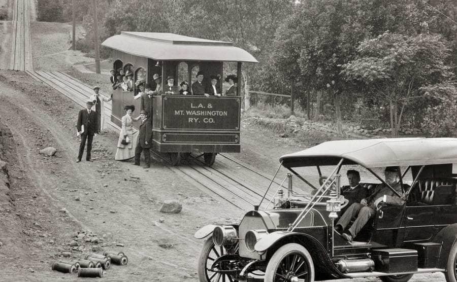 Passengers Boarding La & Mt Washington Ry Co Electric Cable Car